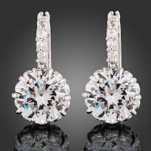 Farfi Women Dazzling Crystal Zircon Leverback Bridal Wedding Party Jewelry Earrings