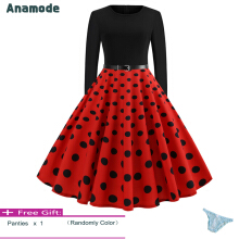 Anamode Women Elegant Bodycon Dresses Big Swing Dot Printed Party Gown Pinup Midi Robe -Red -