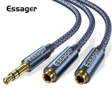 Essager Aux Cable Jack 3.5mm Male to 2 Female Headphone Extension Cable 3.5 Jack Audio Cable for Headphone Adapter Speaker Wire Dark Grey 25mm