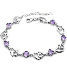 SESIBI Double love Heart Female Purple Zircon Crystal 925 Sterling Silver Women
