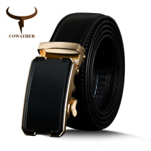 COWATHER Cow Leather men belts Gold Automatic Ratchet Buckle Fashion Luxury Dress belts