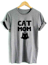Cat Printed O-neck Short Sleeve Casual T-shirts Black XXL