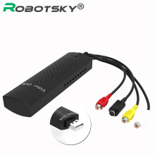 ROBOTSKY Useful USB 2.0 DVD DVR Capture Video Adapter Usb  Stereo Audio RCA For PC Laptop Black