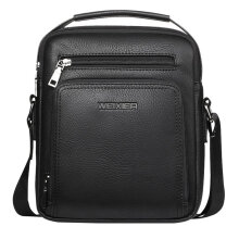 [kingstore]High Class Soft PU Leather Men Bag Casual Business Style Messenger Black