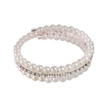 [OUTAD] Three Layers Imitation Pearl Bracelet All-match Style For Lady Girlfriend Gift Silver & White