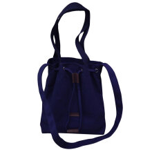 [LESHP]Simple Design Large Capacity Women Canvas Single Shoulder Bag Drawstring Blue