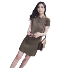 SiYing Korean version of the slim color matching long knit dress