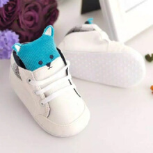 cute baby Prewalker Shoes Fox sepatu bayi baby Infant Toddler Crib Soft Bottom Anti-slip - putih size 6-12 bulan