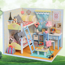 Jantens Small DIY Dollhouse 3D Wooden Mini Doll House Lifelike Handmade Miniature Kit Toys for Children Photo Color