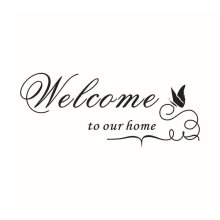 [kingstore] Waterproof PVC Wall Sticker With Welcome To Our Home Words Butterfly Decor Black