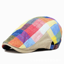 Zanzea 0051Unisex Cotton Colorful Blank Newsboy Beret Hat Duckbill Golf Flat Buckle Cabbie Cap For Men Women Blue