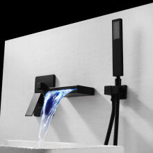 LANGFAN J-8017 LED Color Waterfall&shower Bathroom Sink Faucet-Black