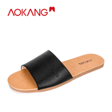 AOKANG men's sandals slippers flat sandbeach  flip flops shoes Black 42