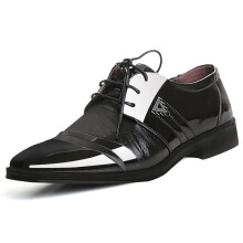 SiYing Korean version of leather shoes pointed wedding shoes men's dress shoes