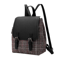 [LESHP]Fashion Plaid Lady Backpack PU Patchwork Students Bag Handheld School Red