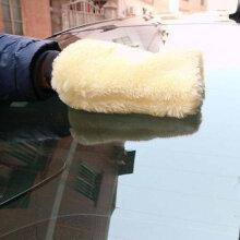 [kingstore]Car Microfiber Plush Mitt Car Wash Glove Mitten Washing Cleaning Brush Tools White White