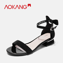 AOKANG Women Buckle Strap Shoes Rianbow Summer Sandals Female Shoe Casual Ladies Slip On Woman Candy Color Toe Beach bowtie Shoe