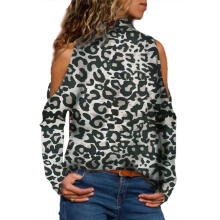 Farfi Autumn Sexy Women High Neck Cold Shoulder Long Sleeve Leopard Print T-Shirt Top
