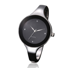 2018 Women Watches Crystal Dress Ladies fashion Stainless Steel Quartz Watches Silver-Black