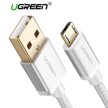 UGREEN 1.5Meter Micro USB Cord for Samsung Xiaomi Redmi Handphone 5V2A Fast Charging Nylon Braided USB Data Cable Silver
