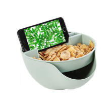 Farfi Durable Double Layers Snacks Fruit Plate Bowl Dish Phone Holder for TV Lazy