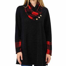BESSKY Women's Pile Collar Collar Buckle Lattice Pullover Casual Sweater_