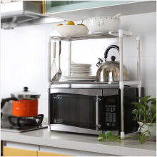 Jantens 1pcs Stainless Steel Adjustable Multifunctional Microwave Oven Shelf Rack Standing Type Double Kitchen Storage Holders Photo Color