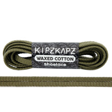 KIPZKAPZ WS52 Waxed Cotton Flat Shoelace - Olive Green [5mm]