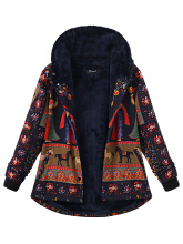 Zanzea 0051Plus Size Thick Warm Coats Casual Women Printing Hooded Coat Navy 10