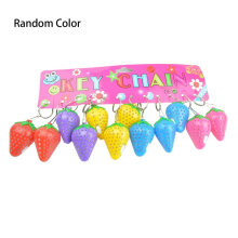 [kingstore]1PC Strawberry Shaped LED Light Plastic Luminous Keyring (Random Color) Random Random