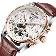 KINYUED JYD-J012 Calendar Automatic Mechanical Watch Roman Numeral Leather Strap Men Watch Brown