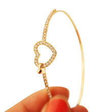 [OUTAD] Full drill hollow love bracelet Gold