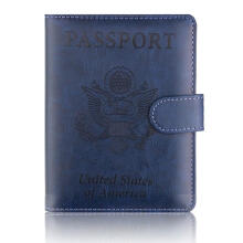 Farfi Passport Card Ticket Holder Faux Leather Unisex Travel Storage Bag Dark Blue