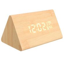 JDWonderfulHouse JDwonderfulhouse USB Voice Control Wooden Triangle Temperature LED Digital Alarm Clock Humidity Thermometer
