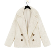 Women Winter Casual Warm Parka Jacket Solid Color Outwear Coat Button Suit L