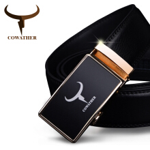 COWATHER mens belt cow genuine leather belts for automatic alloy buckle black strap