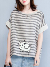 Women Cats Printed Stripe Short Sleeve Casual T-shirts Grey One Size