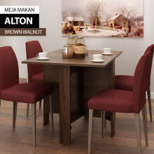 Bavarian Meja Makan BROWN WALNUT (ALTON)