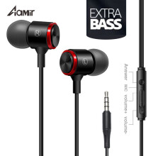 Aamir Red circle  Audio Wired Earphone Stereo Bass Sound Headset Metal Magneti In-Ear Earphone With Mic 3.5mm