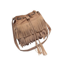 [LESHP]Women Shoulder Bag Solid Color Tassel Decoration Lady Totes Light Brown