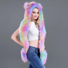 Farfi Colorful Animal Ears Paws Faux Fur 3-in-1 Hat Scarf Mittens Winter Warm Cap as the pictures