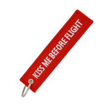 Farfi Kiss Me Before Flight Embroidery Tag Car Keychain Key Ring Holder Pendant Charm