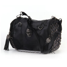 [LESHP]All Matched Women Skull Rivet Tassels Shoulder Bag Handbag Crossbody Black Black