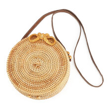 [LESHP]Woven Handbag Bowknot Round Rattan Straw Crossbody Beach Circle Bag Others