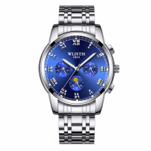 PKEY WLISTH Black Watch Men Wrist Watches Fashion Stainless Steel Clock Quartz Waterproof Sports Watch
