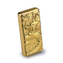 Dragon Emboss Double Pulsed Arc USB Rechargeable Lighter Creative Design BBQ Lighter Ignitor Starter Gold