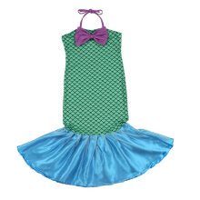 [COZIME] Little Mermaid Tail Princess Fancy Dresses with Bow Cosplay Costume for Girls Green1  L