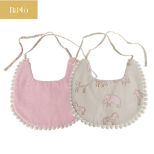 BLINGO BY07 1 pcs Baby Double-Sided Printing Tassel Saliva Towel Bandana Triangle Bibs Head Scarf Pink
