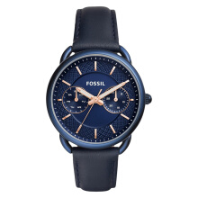 Fossil Tailor Blue Dial Leather Strap Ladies Watch [ES4092]