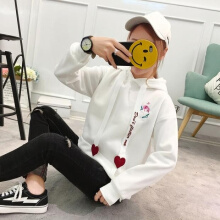 Ninataly New Loose Women hoodie Embroidered Flamingo Thickening Love Letter Tie Velvet Student hooded coat White M